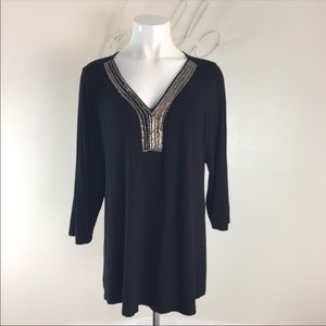 Cable Gauge Black Pullover Top Beaded Neck 14/16